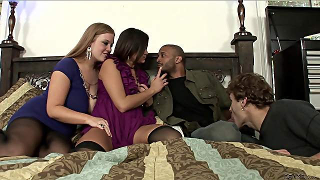 Everyone fucks everyone during a smoldering hot bisexual foursome