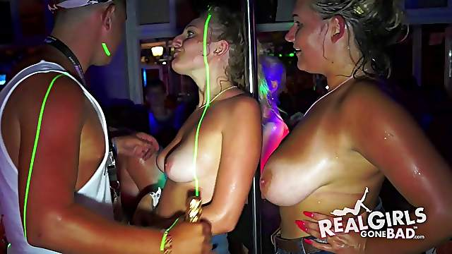 Big tits of cute party girls come out in the club