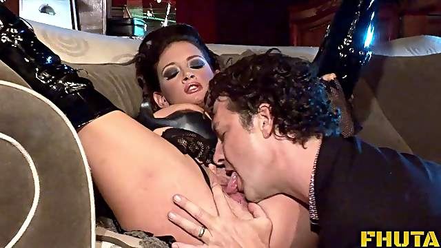 Brunette with big tits yelling while big cock meanders in her pussy hardcore