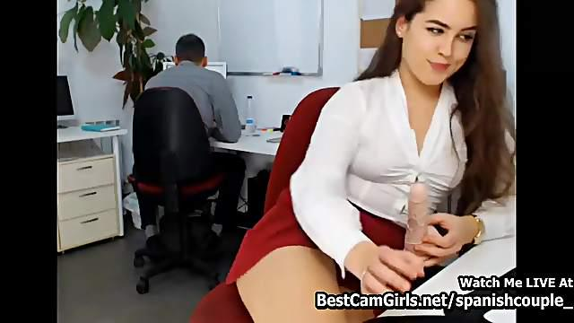 Horny Office Girl Cheats Chief Vaginal Toy Dildo