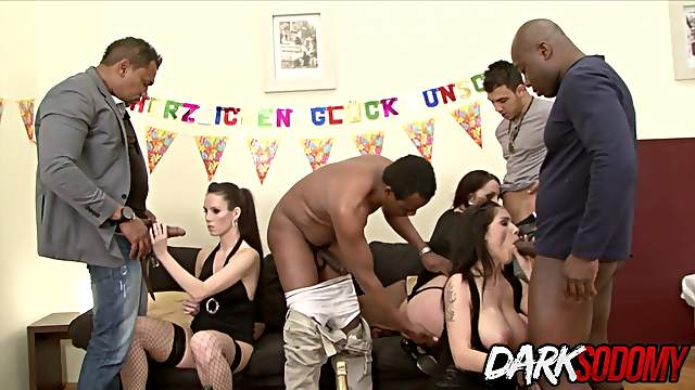 Party Turns Into an Interracial DP Orgy