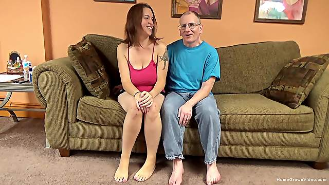 Sexy brunette amateur with huge natural tits is ready to let this old man have some fun!