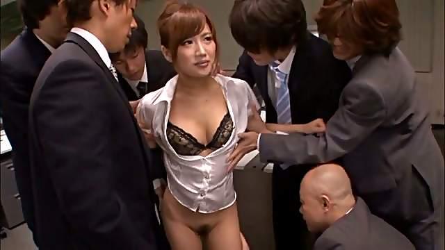 Bukkake Gangbang in the Office for Sexy Japanese MILF