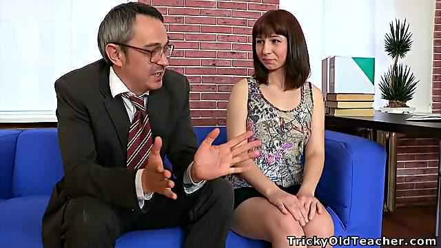 Tricky Old Teacher Talks His Way Into A Cutie's Pants