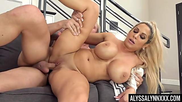 Busty blonde wife Alyssa Lynn moans while riding a dick in cowgirl
