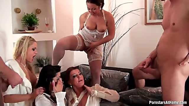 Women in the orgy soaked in piss