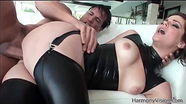 Bobbi Starr in tight latex and leather fucks
