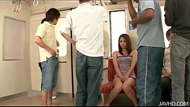 Group of guys undress and fondle Japanese chick