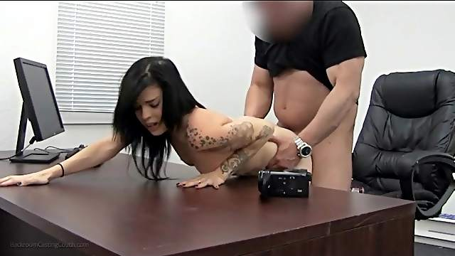 Trashy slut bent over a desk and butt fucked
