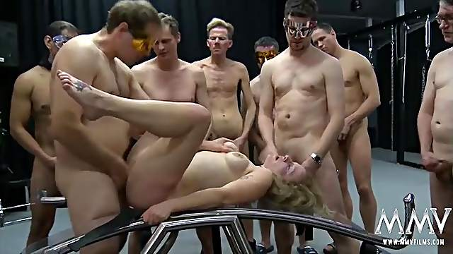Gangbang whore used hard and covered in cum
