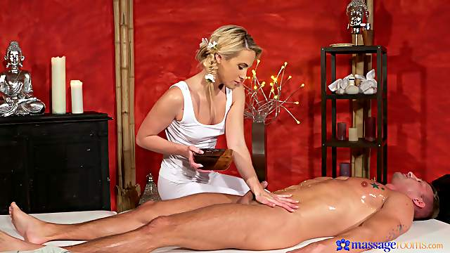 Cristal Caitlin fucks massage client in her well-appointed studio