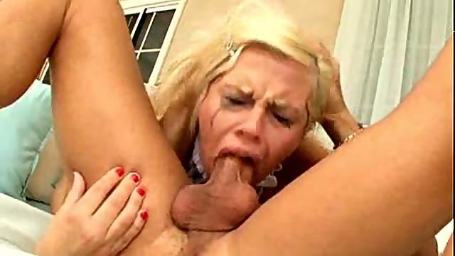 Blonde gagging during deepthroat