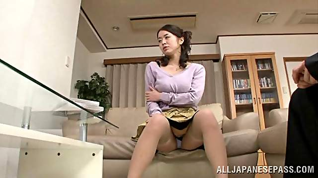 Japanese chick with big boobs gets her hairy pussy fingered and fucked