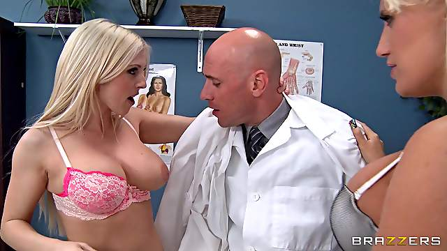 Busty Blondes Fucked In FFM Threesome