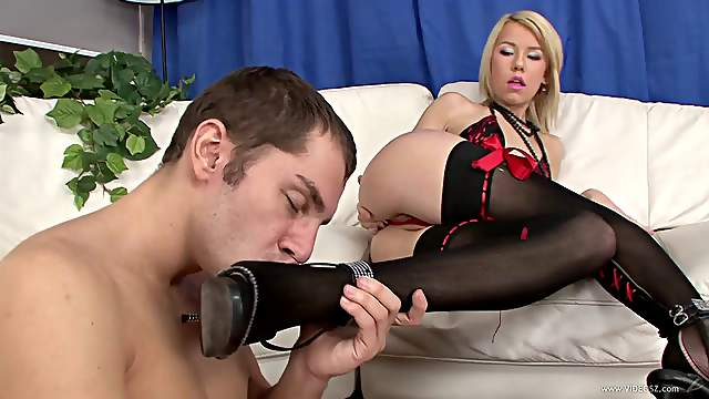 Precious blonde babe in nylon stockings and lingerie getting rim job before riding on huge dick hardcore