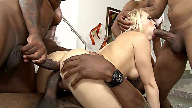 She gets all of her holes filled at once with big black cock
