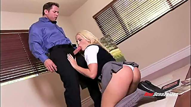 Blonde college girl gets bonked doggy style after giving a blowjob