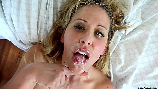 Delicious blonde whore swallows a huge cum load after sex