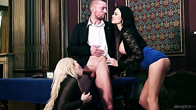 Classy babes share a cock in a very hot threesome fuck