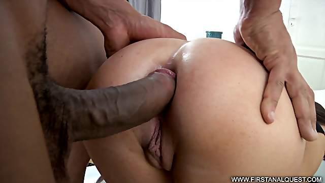 She loves having a hung black guy fuck her tight, white ass