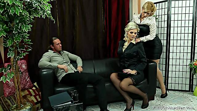 Charming blondes were drilled in various positions Fully Clothed Fucking.