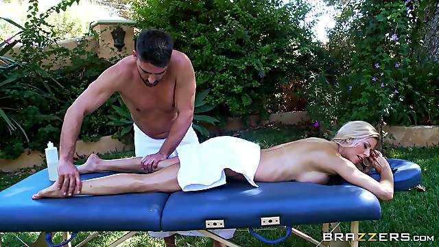 Couple in the backyard oils up and has wild massage sex
