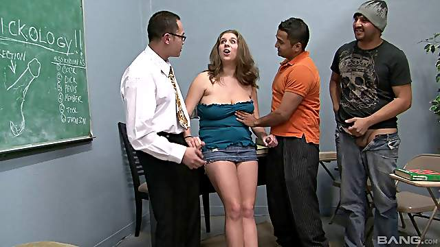 Guys take turns pounding this curvy slut in a gangbang