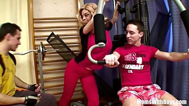 Single Old Lady Against Two Cocks At A Gym Anal
