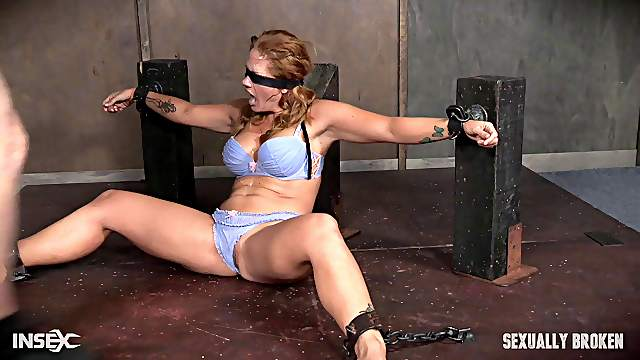 Big tits BDSM fetish dame giving huge dick blowjob till the guy cums