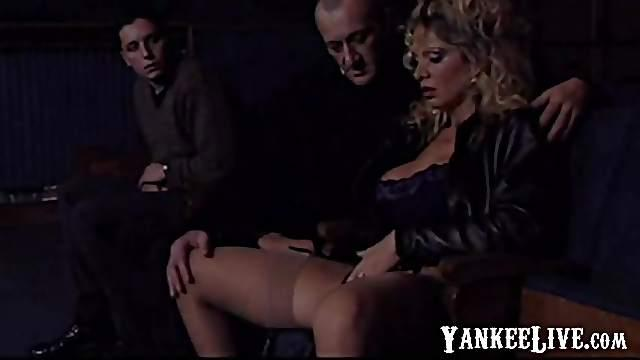 Submissive slut used by group of cocks as cummdump wh-O-re in a cinema