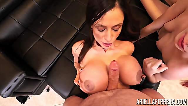 Horny Ariella Ferrera and Brooke Johnson suck a dick until he cums