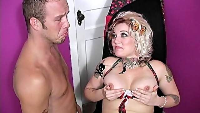 Candy Monroe makes her cuckold lick cum from a black cock off her tits