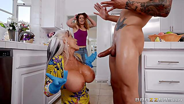 Busty mature granny Sally D'angelo plays with cum on her huge tits