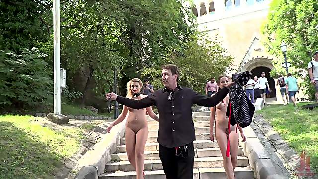 Public humiliation hardcore session with Vyvan Hill and her friends