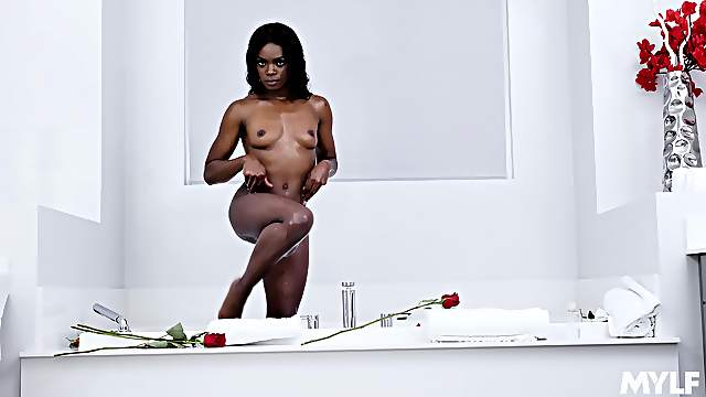 beautiful ebony Ana Foxxx is the real master of a blowjob on the floor
