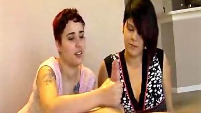 Short haired slut masturbates and jerks off her roommate' dick