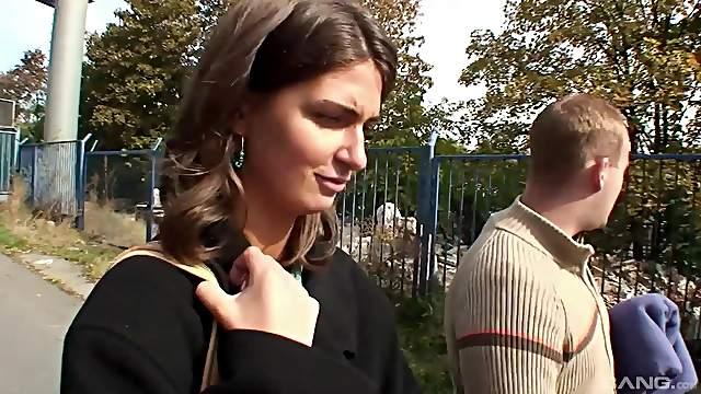 Outdoor fucking in the Czech streets with brunette Nikola Jiraskova