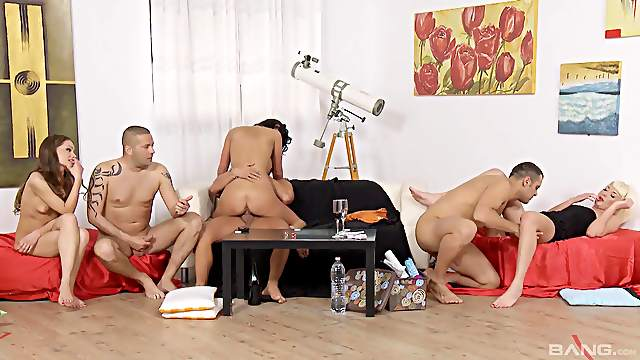 Sex game with three sexy couples ends with a large group sex