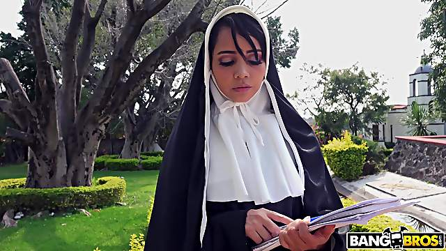 Naughty nun Yudi Pineda plays with a dildo and gets fucked by a priest