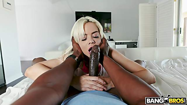 POV video of small tits blondie Elsa Jean sucking and riding a BBC
