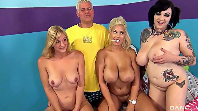 Bridgette B and her horny friends get fucked by one lucky dude