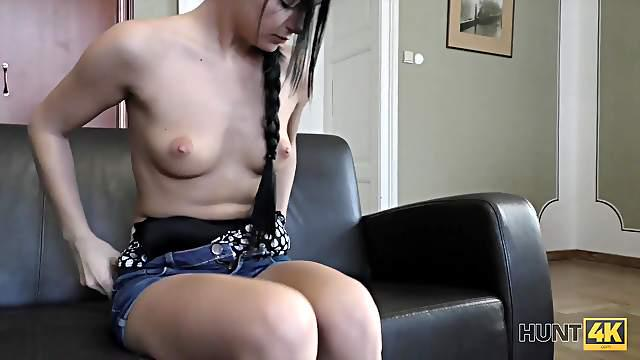Boy is watching how his slutty girl makes money with pussy