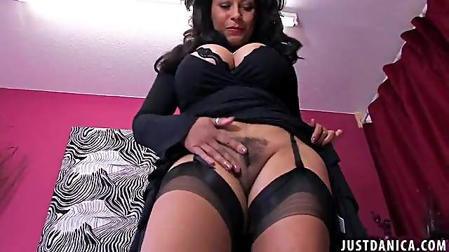 Business lady Danica Collins takes off her panties to tease