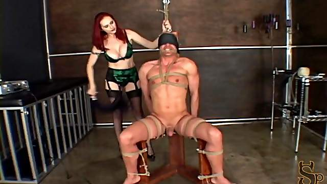 Masculine guy in bondage gets her ball busted in a nasty femdom action