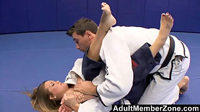 Megan Fenox and Manuel Ferrara banging on the floor
