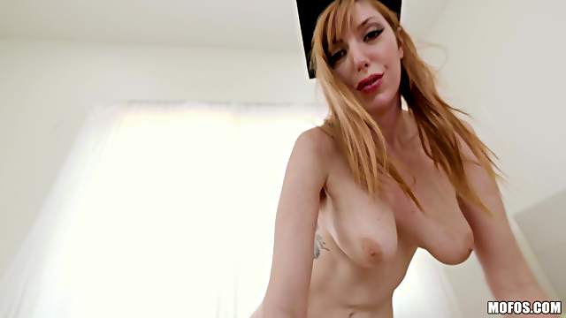 Sucking and riding a long cock makes Lauren Phillips happy