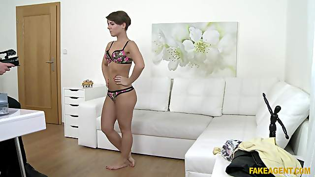 Short hair amateur Sasha takes off her panties to have sex