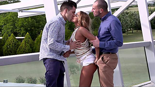 Double penetration threesome with provocative blonde Sofi Goldfinger