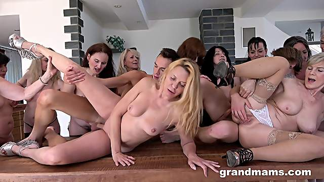 Hardcore orgy between lots of mature sluts and two younger dudes