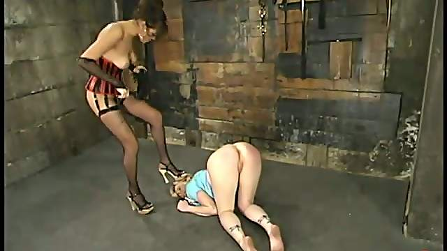 Lesbian Bondage and Femdom Action with Strapon Sex and Spanking